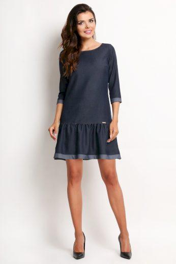 Džínové šaty lichoběžného střihu s 3/4 rukávem A118