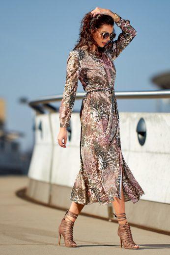 Maxi vzorované šaty na knoflíky s košilovým topem A262 AWAMA