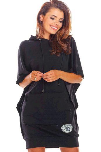 Mikinové šaty s kapuci a velkou kapsou M215
