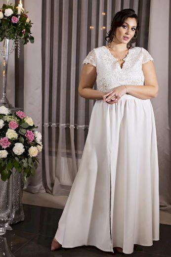 Dlouhé bílé šaty krajkové svatební pro nevěstu CHIARA - 5XL