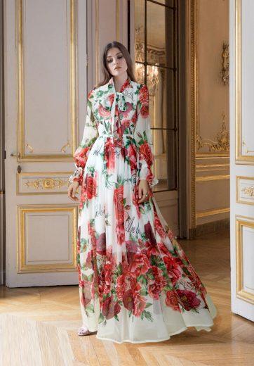 Květované bílé šaty maxi dlouhé Hedvábné šaty s potiskem růží - S