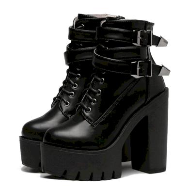 Módní Černé kotníkové boty kožené na podpatku s řemínky
