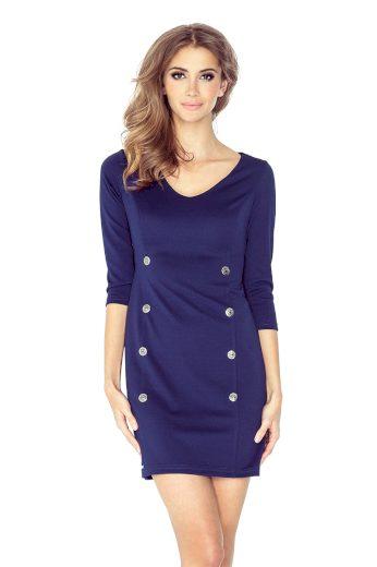 Modré Šaty s  dekorativními knoflíky, rukávy jsou 3/4 délky