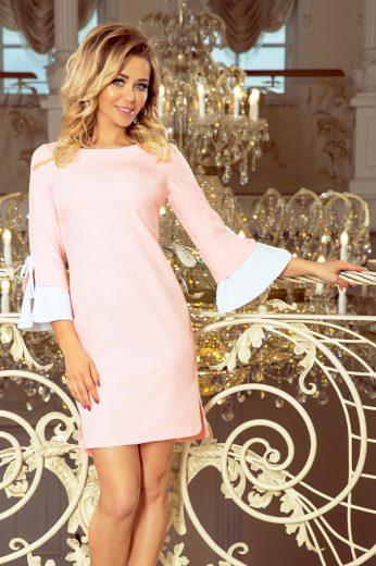 Pastelově barevné šaty s bílými rukávy, velmi pohodlné a skromné
