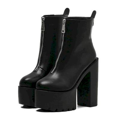 Černé a Bílé Dámské kožené kotníkové boty na podpatku se zipem