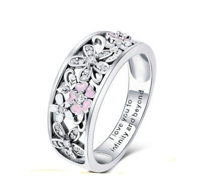 Stříbrný milovaný prsten květiny s glazurou a třpytivými kamínky