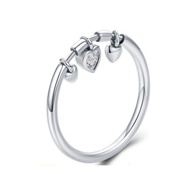 Stříbrný prsten s visacími srdci srdce s třpytivým zirkonem