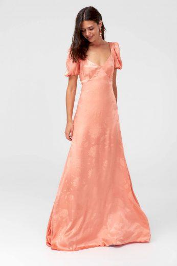 Dlouhé plesové šaty společenské žakárové šaty s hranatým výstřihem
