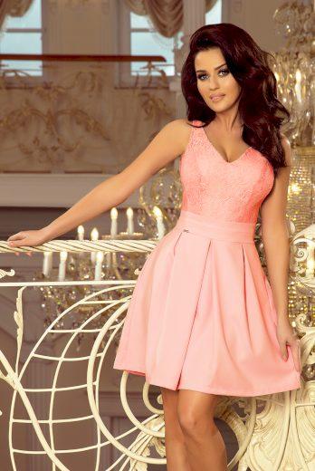Slavnostní šaty na ramínka růžové šaty s krajkovým výstřihem - VEL. M