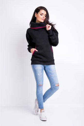 Mikina s límcem volnějšího střihu, se širšími rukávy a kapsou