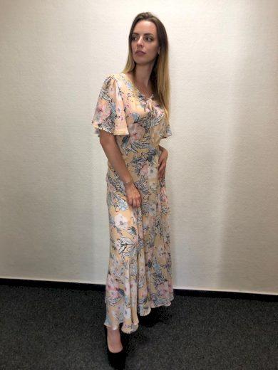 Dlouhé béžové šaty s květinovým potiskem a krátkým rukávem - VEL. L