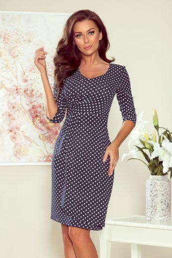 Elastické džínové puntíkované šaty se záhyby a 3/4 rukávy
