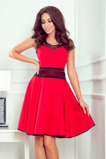 Červené šaty s tylovými vložkami a kapsami průhledná vrchní část