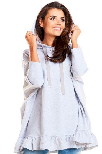 Volná dámská bavlněná mikina pulovr šedé barvy s volánem
