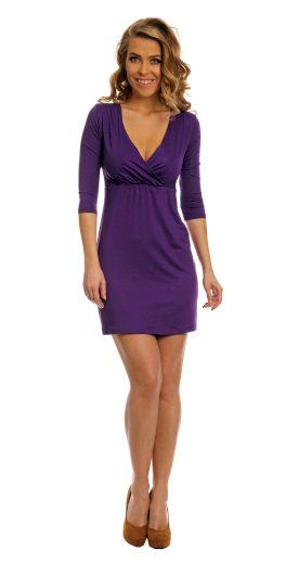 Dámské midi koktejlové fialové šaty černé nadměrné velikosti - 4XL