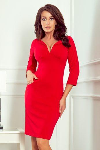 Elegantní Červené šaty s hlubokým výstřihem a kapsami