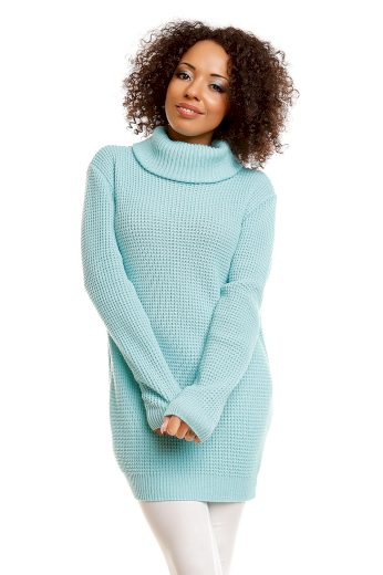 Dámský dlouhý měkký svetr s rolákem oversize volný