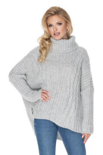 Dámský oversize svetr vlněný pulovr s rolákem dlouhý rukáv