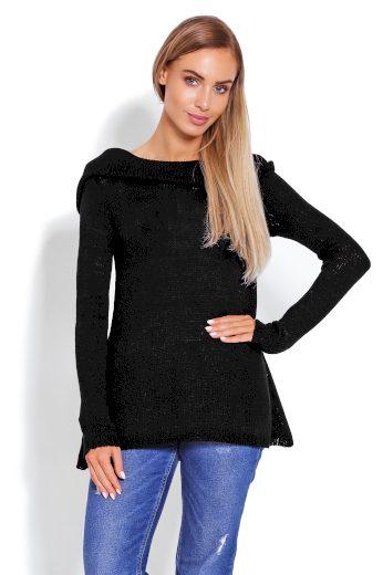 Dámský pletený měkký svetřík s kapucí a dlouhým rukávem