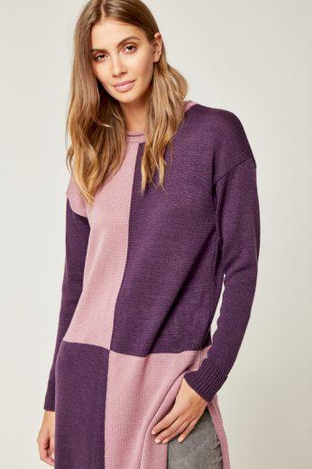 Dlouhý pletený svetr tunika dvoubarevný s bočními rozparky