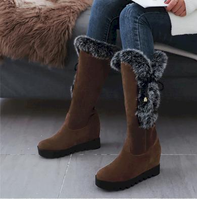 Dámské zimní polokozačky teplé boty pod kolena s pravou králičí srstí
