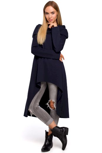 Pletená asymetrická tunika s rolákem a dlouhým rukávem