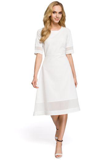 Letní koktejlové bílé šaty síťové pruhy z průsvitného šifonu - VEL. S