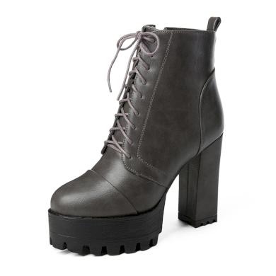 Dámské kožené kotníkové boty společenské na vysokém podpatku