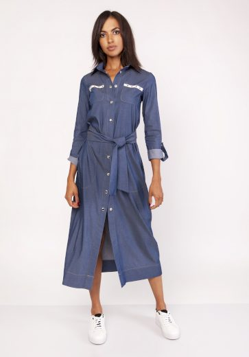 Džinové šaty denim dlouhé košilové šaty s límcem a páskem - XL