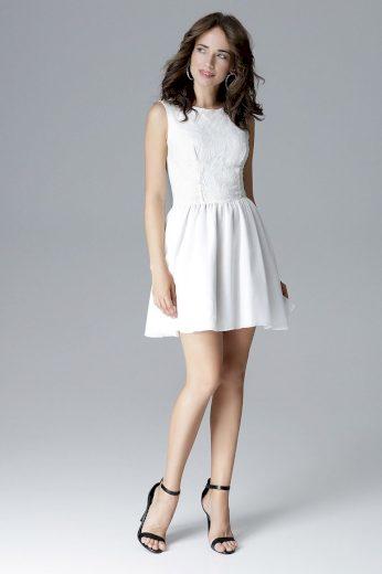 Koktejlové bílé šaty krajkové bez rukávů s podšívkou - XL