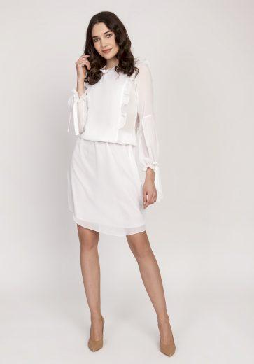 Šifonové modré šaty bílé průhledné s volánky a dlouhým rukávem