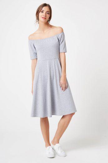 Letní khaki šaty elastické modré s kapsami a odhalenými rameny