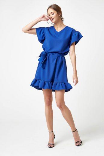 Romantické růžové šaty áčkové modré s volány a krátkým rukávem