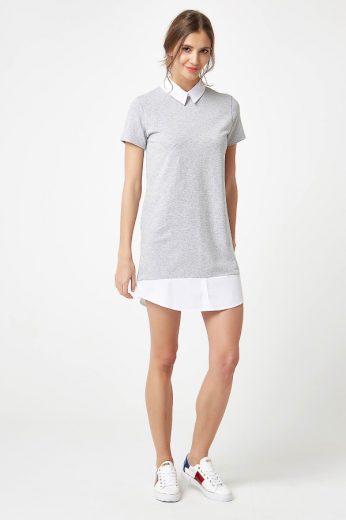 Formální bavlněné šaty teplákové ve stylu košile s límcem