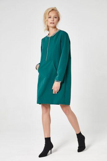 Zelené sportovní šaty na zip červené elegantní s klokaní kapsou