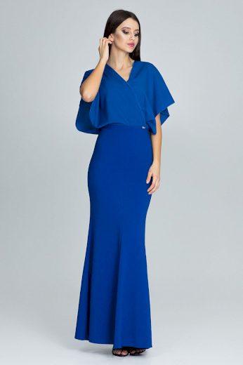 Elegantní dlouhé šaty s volánovými rukávy a obálkovým výstřihem XL