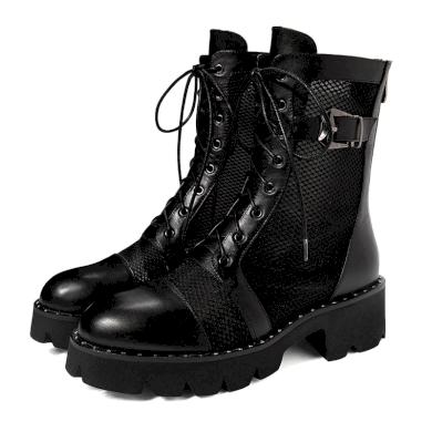 Stylové kotníkové boty z pravé hovězí kůže síťové s řemínkem