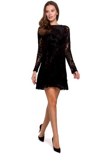 Černé mini šaty sexy večerní šaty krajkové s dlouhým rukávem - VEL. S