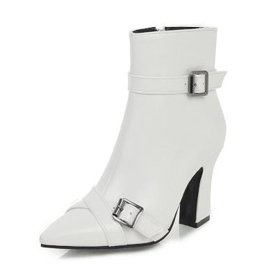 Kožené černé boty bílé elegantní s ostrou špičkou a řemínky