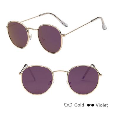 Módní sluneční brýle kvalitní UV400 kulatý design růžné barvy