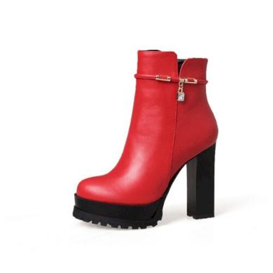 Elegantní podzimní boty kotníkové holínky z umělé kůže na podpatku