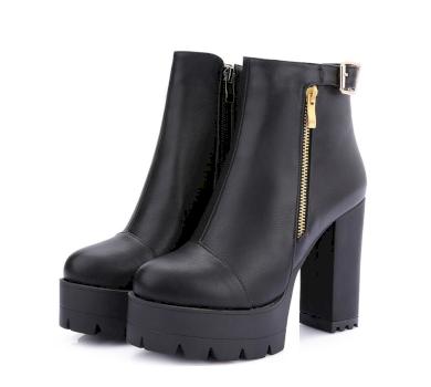 Módní kožené boty se zipem a se sponou holínky na hranatém podpatku