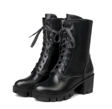 Kožené polokozačky módní boty na mini podpatku se šněrováním