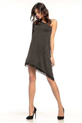Asymetrické šaty s jedním dlouhým rukávem krajkové lemování