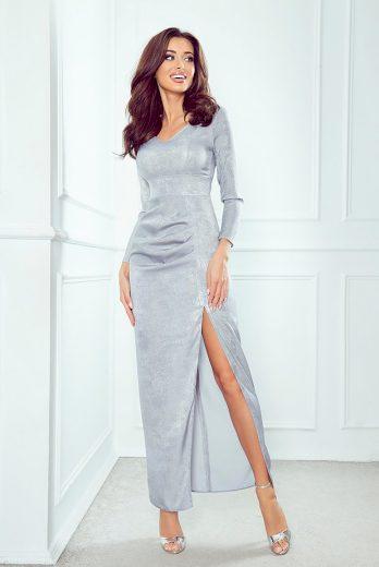 Večerní stříbrné šaty dlouhé z lesklého materiálu šaty s rozparkem - L