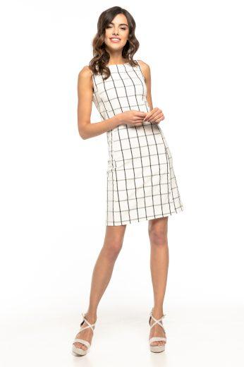 Elegantní bílé Mini šaty bez rukávů v kostkovaném vzoru