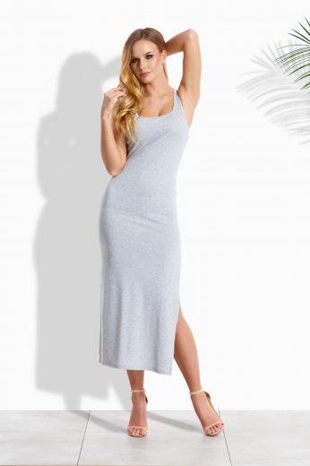 Letní šaty dlouhé na ramínka s bočním rozparkem VEL. 2XL/3XL