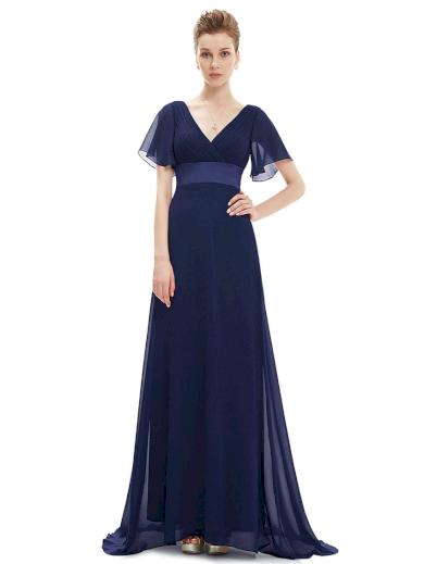 Dlouhé společenské šaty plesové a svatební šifón s krátkými rukávy
