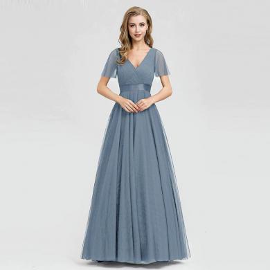 Áčkové dlouhé společenské šaty na ples s krátkými šifónovými rukávy