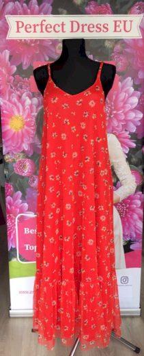 Červené maxi šaty na špagetová ramínka s potiskem květů VEL. M/L